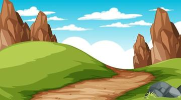 Paysage de parc naturel vierge à la scène de jour avec chemin à travers la prairie vecteur