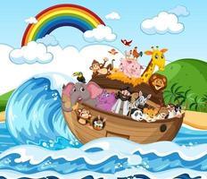 arche de noé avec des animaux dans la scène de l'océan vecteur