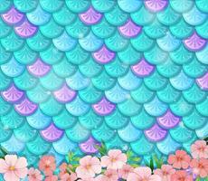 fond d'écailles de poisson fantaisie avec de nombreuses fleurs vecteur