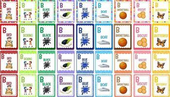 jeu de cartes flash alphabet lettre b vecteur