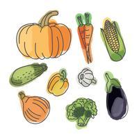 Légumes à l'Aquarelle vecteur