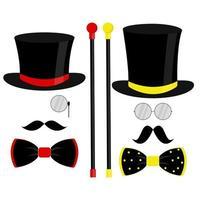 chapeau haut de forme noir, nœud papillon, monocle et moustache. illustration vectorielle à la mode sur fond blanc pour carte-cadeau, certificat, bannière, logo. vecteur