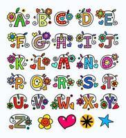 alphabet monogramme doodle dessiné à la main vecteur