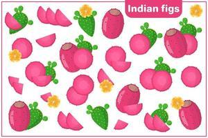 ensemble d'illustrations de dessin animé de vecteur avec des fruits exotiques de figues indiennes, des fleurs et des feuilles isolés sur fond blanc
