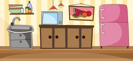 scène de cuisine vierge avec des meubles de cuisine vecteur