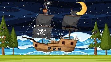 océan avec bateau pirate à la scène de nuit en style cartoon vecteur
