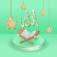 fond de vacances ramadan kareem. célébrer le mois sacré du ramadan en islam. conception réaliste avec des objets 3d, podium, livre sacré, calligraphie allah et étoile. vecteur