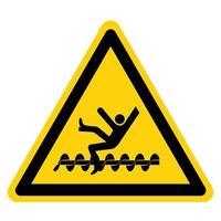 avertissement des pièces tournantes exposées causera des blessures de service ou un signe de symbole de mort isoler sur fond blanc vecteur