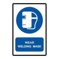 porter un signe de symbole de masque de soudage vecteur