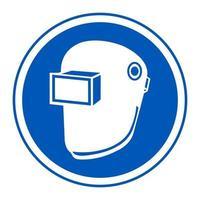Symbole porter un casque de soudage isoler sur fond blanc vecteur