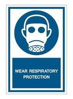 porter un signe de symbole de protection respiratoire vecteur