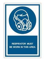 un respirateur doit être porté dans ce signe de symbole de zone vecteur