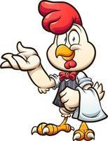 poulet de serveur de dessin animé avec gilet et noeud papillon. vecteur