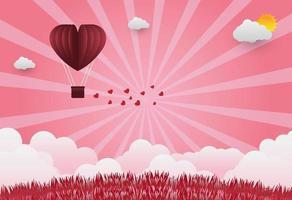 ballons de la Saint-Valentin en forme de coeur volant sur fond de vue herbe, style art papier. illustrateur de vecteur