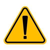 symbole de point d'exclamation, icône dangereuse d'avertissement sur fond blanc vecteur