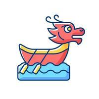 icône de couleur rvb festival bateau dragon vecteur