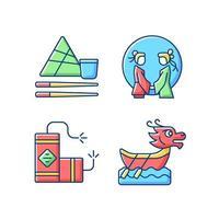ensemble d & # 39; icônes de couleur rgb vacances nationales de chine vecteur