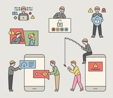 diverses tactiques des criminels qui commettent la cybercriminalité. illustration vectorielle minimale de style design plat. vecteur