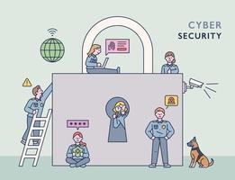 une équipe d'enquêteurs sur la cybercriminalité est à la recherche d'un criminel autour d'une énorme serrure. illustration vectorielle minimale de style design plat. vecteur