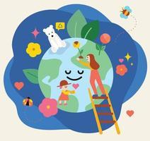 des personnes, des fleurs et des feuilles qui protègent la planète. illustration vectorielle minimale de style design plat. vecteur