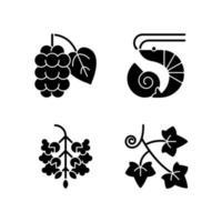 allergène saisonnier provoque des icônes de glyphe noir sur un espace blanc vecteur