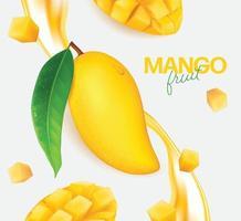 mangue fraîche avec des tranches et des feuilles illustration vecteur