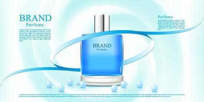 Publicité de parfum bleu avec un fond de tissu clair et ruban vecteur