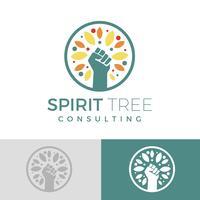 Logo de l'arbre plat avec logo de poing main logo vecteur