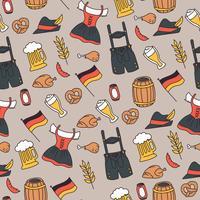 Motif Doodled Oktoberfest Elements vecteur