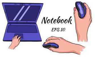 ordinateur portable. souris pour l'ordinateur en main. pour le travail à domicile et au bureau. style de bande dessinée. vecteur