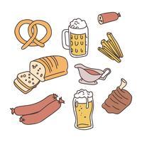 Nourriture Bavaroise Doodled vecteur