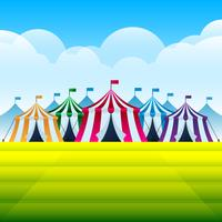 Tente de cirque sur un parc des expositions vecteur