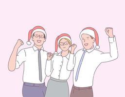 célébration du nouvel an, concept d'ambiance festive. joyeux gestionnaires ou collègues célébrant les vacances ensemble. vecteur