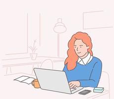 entreprise, gestionnaire de femme dans le concept de bureau. personnage de dessin animé de commis jeune femme d'affaires souriant heureux assis à la table de travail avec café et ordinateur portable. vecteur