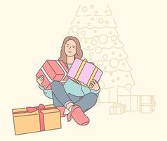personnage de dessin animé jeune femme souriante heureuse tenant transportant de nombreux cadeaux. illustration de cadeau de Noël ou d'anniversaire de nouvel an. vecteur