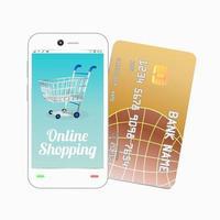 smartphone avec carte de crédit vecteur