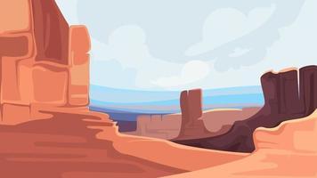 canyon avec des montagnes rouges. vecteur