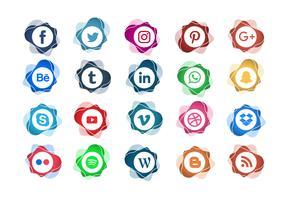Icône de médias sociaux abstrait timbre Vector Set