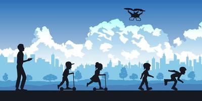 silhouette de personnes dans le parc, les parents et les enfants jouant avec un drone vecteur