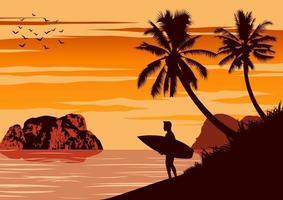 silhoutte d'homme tenant une planche de surf au bord de l'océan vecteur