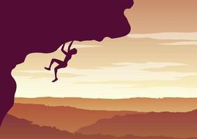 conception de la silhouette de l'homme escalade la falaise vecteur