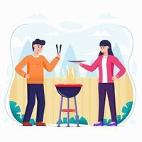 personnes faisant un barbecue dans la cour vecteur