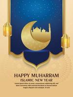 flyer d'invitation joyeux nouvel an islamique muharram avec lune dorée réaliste et lanterne vecteur