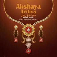 illustration vectorielle de akshaya tritiya célébration bijoux vente promotion carte de voeux avec collier créatif et boucles d'oreilles vecteur