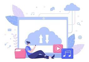 illustration de stockage de sauvegarde dans le cloud du système informatique pour le partage d'informations, l'hébergement, la sauvegarde, la copie de fichiers, de serveurs et de centres de données vecteur