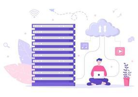 serveur cloud informatique hébergeant le stockage illustration de la technologie de transmission de données et de la protection avec un administrateur ou une équipe de développeurs vecteur