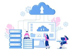 Illustration de recherche d'hébergement de stockage de données en nuage pour les statistiques de base de données d'informations et l'analyse de recherche vecteur
