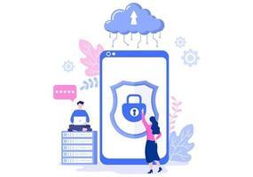 illustration privée de nuage de données pour accéder à l'hébergement ou à la base de données et à la protection des données. concept d & # 39; entreprise de bouclier de cybersécurité Internet vecteur