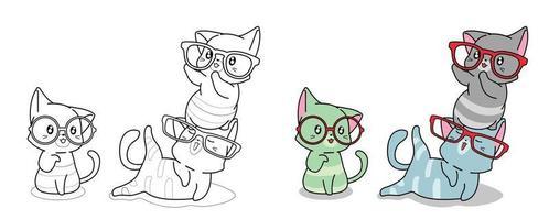 chats, à, lunettes, dessin animé, coloration, page vecteur