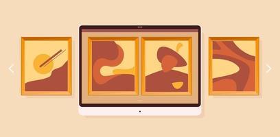 galerie d'art à l'écran dans un style plat. concept de musée en ligne. conception de vecteur